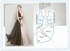 vestido de noche corte imperio bicolor. Tema 140