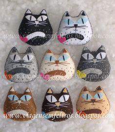 Uma colecção de pregadeiras com gatinhos apaixonados e rechonchudos.   Blogue: www.viagensemfeltros.blogspot.com  Mais info: emnsfeltros@gmail.com
