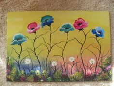 Painting Poppies In Acrylic Paint On Canvas 30 x 20 inch £50.00