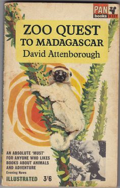 Zoo Quest To Madagascar by David Attenborough. Vintage Pan paperback book cover.