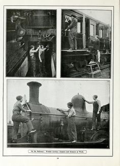 On the Railways: Women Carriage Cleaners and Greasers at Work.  WWI