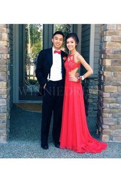 Shop discount Red A-line O Neck Beaded Applique Bodice Long Chiffon Low Back Prom Dress WNPD0448