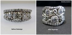 A gorgeous redesign!  Our client wanted a ring that was a more comfortable fit for her finger, using all of the diamonds and metal of her existing ring. Our Master Jeweler created a ring that is both beautiful and wearable! McNulty Jewelers original design