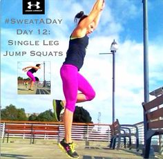Support Under Armour's #SweatADay challenge! Day12: Single Leg Jump Squats. @Joann Matthews Armour @underarmouraust @Shauna (LilDuckieArts) harrison. These are just like the jump squats we did in a previous #SweatADay only, well, single leg. If jumping is not good for your body, then don't do it. Single leg squats are fine. As are regular squats. If jumping is ok, but single leg is too much, do regular jump squats. There are always options!!