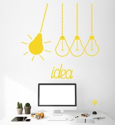 Details about Vinyl Wall Decal Light Bulbs Idea Funny Office Decor Stickers Office Wall Graphics, Office Wall Decals, Office Walls, Vinyl Wall Decals, Wall Stickers, Office Humor, Funny Office, Office Wall Design, Home Decor Hacks