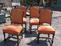 Hey, I found this really awesome Etsy listing at https://www.etsy.com/listing/186814085/four-velvet-upholstered-orange-chairs    I must have these!