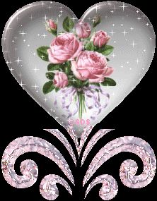Glitter Hearts And Roses Pink Rose Heart