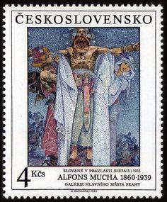 Postzegel: The Slavs in their Homeland by Alfons Mucha det (Tsjechoslovakije) (Art) Mi:CS 2963 Art Nouveau Poster, Art Deco Posters, Vintage Posters, Illustrator, Alphonse Mucha Art, Postage Stamp Art, Fabric Stamping, Small Art, Stamp Collecting