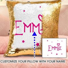 Personalized Sequin Name Pillow Cushion – Gift For Her, Gifts For Him, Gifts For Couple, Gifts For Wife, Gifts For Husband, Gifts For Mom, Gifts For Dad, Gifts For Kids, Gifts For Couple, Anniversary Gifts #gift #gifts #anniversary #birthday #pilllow #cushion #custom