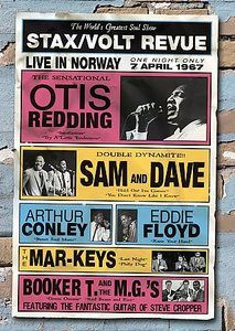 1967 Poster of STAX / VOLT REVUE in Norway w/Sam and Dave, Otis Redding, Booker T. and the M.G.'s, Eddie Floyd, and Arthur Conley. WOW !!! What a Show !!! LIVE in NORWAY 8-7-67