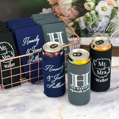 Gift these useful favors to your friends and family to use during your wedding and then take home to remember your wedding day every time they enjoy a cold beverage. Made of high quality, machine washable neoprene, these collapsible can sleeves fit comfortably in a back pocket and will last longer than sponge foam beer can coolers. Wedding Koozies, Wedding Reception, Wedding Day, Personalized Cocktail Napkins, Custom Playing Cards, Two Of A Kind, Wedding Designs, Favors, Canning
