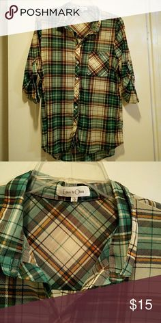 Plaid shear blouse New.. Never worn.. Green brown tan 3/4 sleeve Blouse,  sheer, cute, soft and comfortable, new, haven't wore it yet Eden & olivia Tops