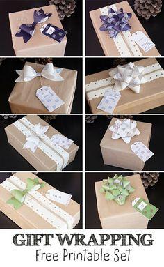 Regalo di Natale: set per incartare i regali per stampare gratis: fiocchi ed etichette scaricabili www.marandvicreativestudio.com #giftwrapping