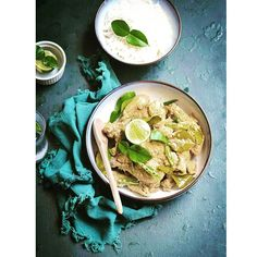 Lemon Chilli Chicken Curry With Green Cardamom & Lime Leaf recipe by Rumela Roy Green Curry, Chicken Curry, Hummus, Chili, Lime, Leaves, Ethnic Recipes, Food, Style