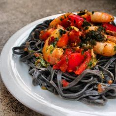 #squid #ink #tagliatelle with #garlic #parsley #chili #shrimp and #fresh #perled #sanmarzano #tomato #black #pasta #italian #italianfood #cooking #picoftheday #food #foodporn #healthy #mediteranean #dish #dinner #yummy #delicious #seafood #mykitchen Black Pasta, Chili Shrimp, Roasted Root Vegetables, Mediterranean Recipes, Food Plating, Parsley, Ricotta, Italian Recipes, Quinoa