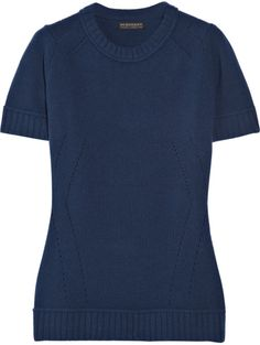 Burberry Prorsum Cashmere-blend Short-sleeved Sweater in Blue