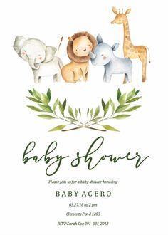 Idee Baby Shower, Baby Shower Giraffe, Shower Bebe, Animal Theme Baby Shower, Elephant Baby, Jungle Theme Baby Shower, Imprimibles Baby Shower, Baby Shower Invitaciones, Safari Party