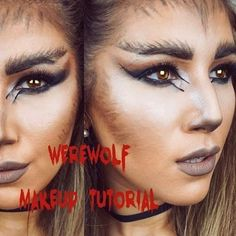 Watch the full video over on my channel(link in bi Halloween Looks, Holidays Halloween, Halloween Make Up, Halloween Face Makeup, Belle Halloween, Halloween 2019, Halloween Ideas, Wearwolf Makeup, Girl Werewolf Costume