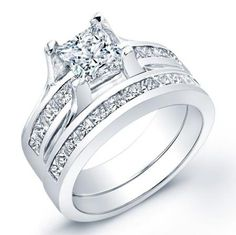 2+Carat+princess+cut+diamond+engagement+ring+&+band+SI+H ~ all I need right here!