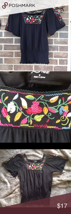 R x B Black Embroidered Top Black knit blouse with floral embroidery.  Size Medium. Elastic around waist. R x B Tops Blouses
