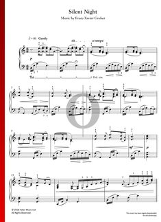 Silent Night by Franz Xaver Gruber - Piano Sheet Music for Christmas Silent Night Sheet Music, Piano Sheet Music, Special Occasion, Holiday, Christmas, Songs, Traditional, Musica, Xmas