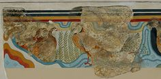 """Heavily mended and restored wall painting (""""The Partridge Fresco"""")<br>Knossos, Middle Minoan III-Late Minoan IA (ca. 1700-1525/1500 B.C.)<br>(Courtesy Onassis Public Benefit Foundation)"""