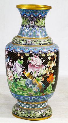 Lot 490: Asian Cloisonne Floor Vase; Contemporary having a black lozenge style background with a floral motif
