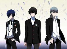 Minato Arisato, Akira Kurusu and Yu Narukami Persona Crossover, Yu Narukami, Hot Anime Guys, Anime Boys, Shin Megami Tensei Persona, Akira Kurusu, Persona 4, Disney Cartoons, Game Character