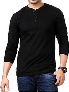 171f23a53fd STYLE SHELL Men s Henley Full Sleeve Cotton T-Shirt (Black