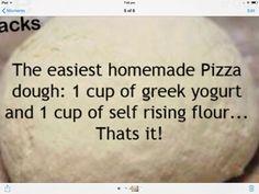 Easy pizza dough Easy Pizza Dough, Self Rising Flour, Yogurt Cups, Risotto Recipes, Stromboli, Breads, Life Hacks, Bacon, Cooking Recipes