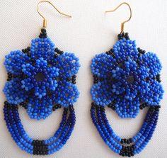 Mexican Huichol Beaded Flower Earrings by Aramara on Etsy Seed Bead Jewelry, Seed Bead Earrings, Flower Earrings, Beaded Earrings, Crochet Earrings, Beaded Flowers Patterns, Beaded Jewelry Patterns, Art Perle, Handmade Jewelry