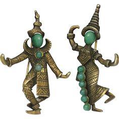 MARVELLA Vintage Signed Faux Jade Figural Siamese Dancer Brooch Set