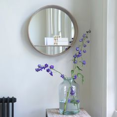Hula mirror in reclaimed elm with a beached timber finish