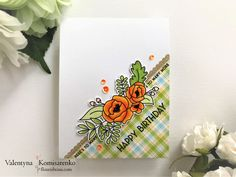 Orange Blossoms and Plaid Birthday Card