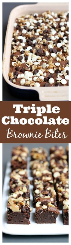 Triple Chocolate Brownie Bites are chewy brownies topped with white chocolate chips, semi-sweet chocolate chips, and chopped walnuts. Chewy Brownies, Chocolate Brownies, Chocolate Cookies, Just Desserts, Delicious Desserts, Dessert Recipes, Yummy Food, Eat Dessert First, Dessert Bars