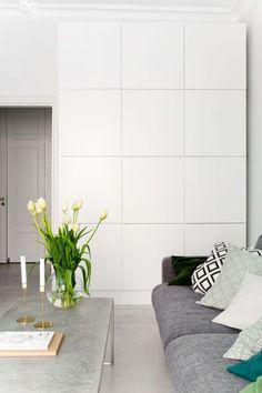 48 Coolest IKEA Living Room Hacks :: such a large wall storage unit made of IKEA Besta doesn_t look heavy and is rather sleek Living Room Hacks, Home Living Room, Living Room Decor, Ikea Living Room Storage, Ikea Wall, Home Interior Design, Decoration, Home Decor, Wall Storage