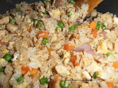Chicken Fried Rice  3 C. rice, cooked 3 C. cooked chicken, chopped or shredded 1 C. frozen peas & carrots, thawed 1 C. chopped onion 2 eggs, soft scrambled 4 T. butter soy sauce, to taste (buy gluten free soy sauce, or gf tamari sauce, if needed)  In a large skillet, or wok, melt the butter over med. high heat. Add the onion and cook for 2 minutes. Stir in the chicken, rice, peas & carrots, cook for another 4-5 minutes to warm through then add the scrambled eggs and combine well. Remove…