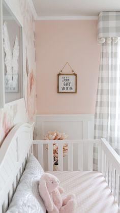 Baby Room Design, Baby Room Decor, Room Baby, Baby Bedroom, Pink Accent Walls, Nursery Accent Walls, Light Pink Nursery Walls, Pink And Gray Nursery, Elegant Baby Nursery