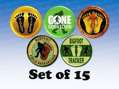 15 Bigfoot Sasquatch Button Set Pin Back Magnet by ButtonBlitz