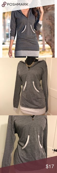 "Venus Gray Half Zip Hoodie Pocket Sweatshirt Tunic EUC Venus size Medium half zip hoodie with light gray detail. Adorable front pocket. Perfect for a spring day with leggings! Laying flat measurements: length from shoulder to base: 29"", pit to pit: 19"" Venus Tops Sweatshirts & Hoodies"