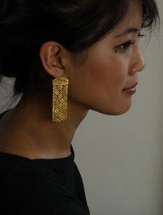 Monika Knutsson Dottie Gilded Lace Earrings