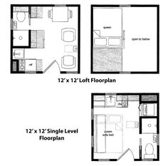 b550801a9cf9f99601374311240c2b50 tiny homes small spaces 12x12 house w loft 12x12h1 268 sq ft excellent floor,12x12 Tiny House Plans
