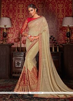 Heavenly Embroidered Work Beige Classic Designer Saree Model: YOSAR8831