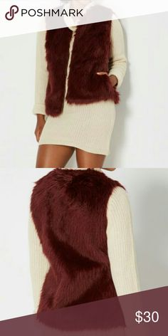Rue 21 burguney faux fur vest NWT Brand new with tags ((only 1 available))  Grab this fabulous burgundy faux fur vest for your wardrobe. Pair with a sweater dress and boots or legging, a fun top and jacket.  Size S/M Faux fur body 80% acrylic 40% polyester: Lining 100% polyester 5 hook closures  Fully lined Pockets on side   Shop with confidence  Suggested User  Same day shipping    5 star      rated closet Rue21 Jackets & Coats Vests