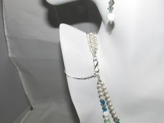 Pretty double strand green and blue Jade and Crystal N/B/E set.