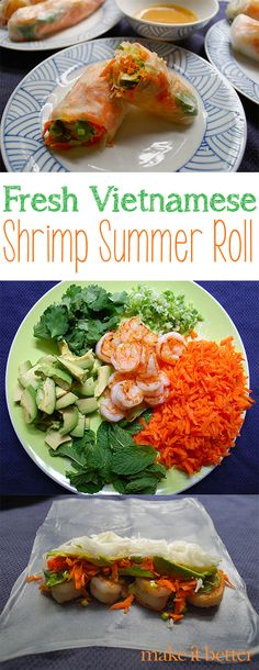 Fresh Vietnamese Shrimp Summer Rolls with Easy Peanut Dipping Sauce (summer snacks rice paper) Healthy Recepies, Heart Healthy Recipes, Healthy Cooking, Healthy Eating, Cooking Recipes, Seafood Dishes, Seafood Recipes, Summer Rolls, Summer Snacks