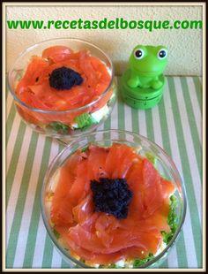 TRUCHA AHUMADA en COPA. Deliciosa y original ensalada fácil y rápida de elaborar http://www.recetasdelbosque.com/