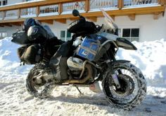 BMW GS Motorcycle with tire chains in snow ,  http://www.pashnit.com #bmw #motorcycle #pashnit