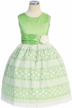 Sweet Kids Taffeta Dress with Lace-Overlay and Pin-on Lace Flower Green Flower Girl Dresses, Flower Girl Gown, Toddler Flower Girl Dresses, Lace Flower Girls, Baby Flower, Girls Formal Dresses, Dresses For Less, Summer Dresses, Taffeta Dress