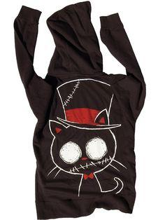 """Women's """"Zombie Cat"""" Zip Hoodie by Akumu Ink (Black)"""